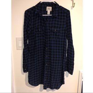 Plaid button up t-shirt dress